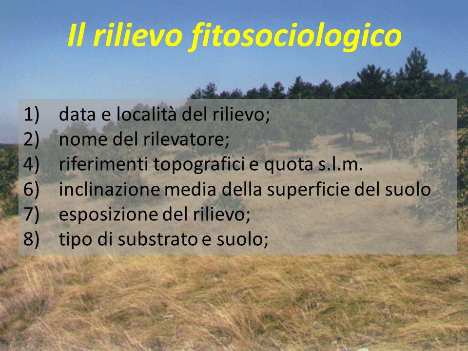 Il rilievo fitosociologico 1) data e località del rilievo; 2) nome del rilevatore; 4) riferimenti topografici e quota s.l.m. 6) inclinazione media del