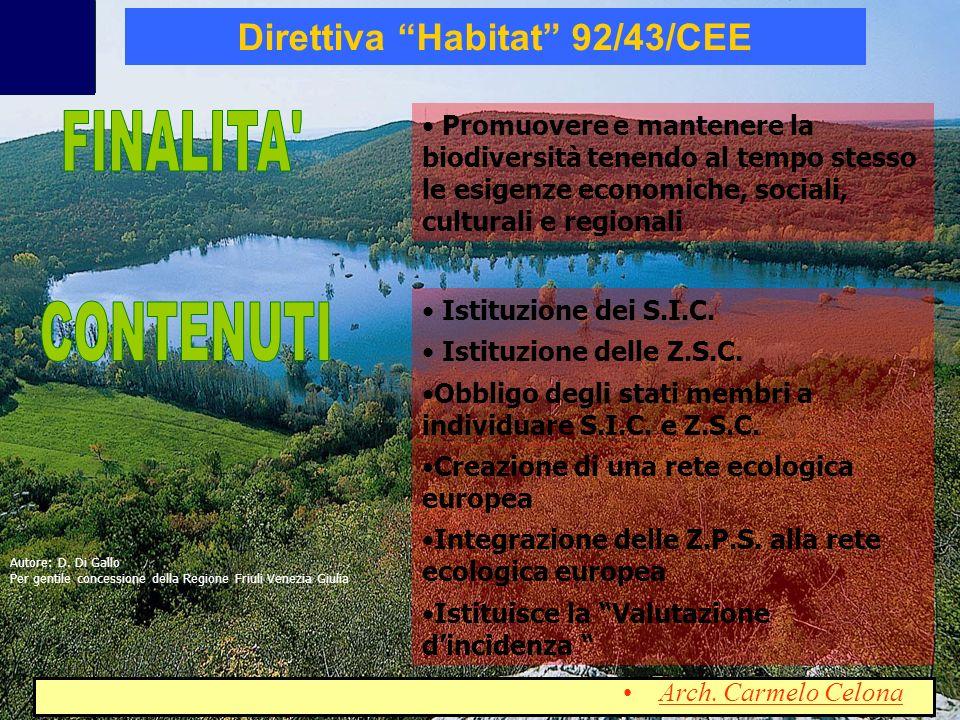 Promuovere e mantenere la biodiversità tenendo al tempo stesso le esigenze economiche, sociali, culturali e regionali Istituzione dei S.I.C. Istituzio