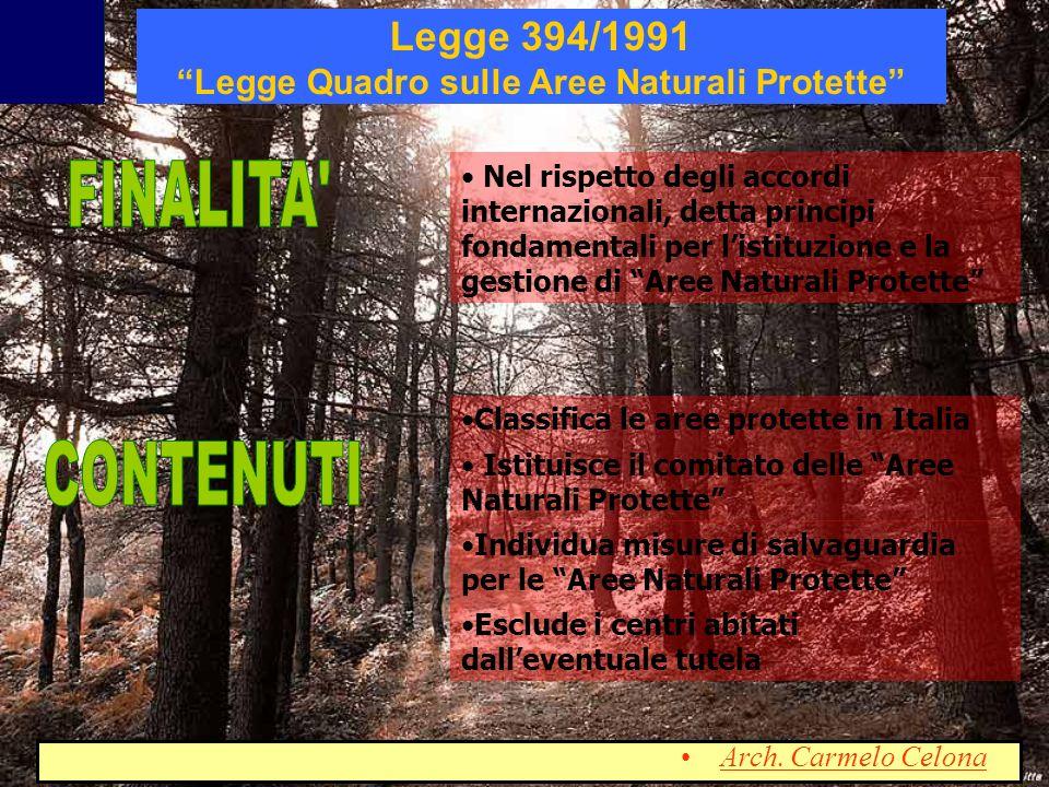 Classificazione delle Aree Naturali Protette in Italia Classifica tra le aree protette di cui alla L.
