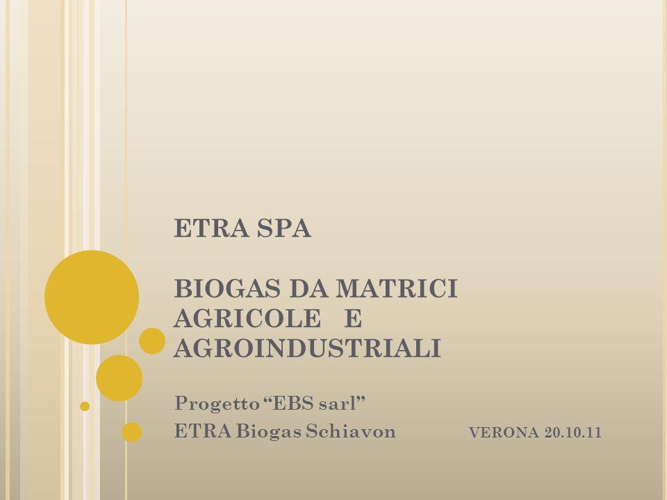 ETRA SPA BIOGAS DA MATRICI AGRICOLE E AGROINDUSTRIALI Progetto EBS sarl ETRA Biogas Schiavon VERONA 20.10.11