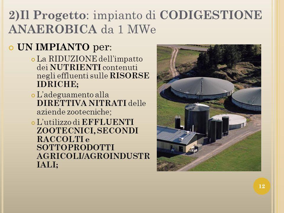 2)Il Progetto : impianto di CODIGESTIONE ANAEROBICA da 1 MWe UN IMPIANTO per : La RIDUZIONE dellimpatto dei NUTRIENTI contenuti negli effluenti sulle