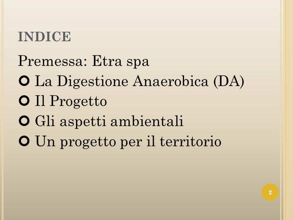 INDICE Premessa: Etra spa La Digestione Anaerobica (DA) Il Progetto Gli aspetti ambientali Un progetto per il territorio 2