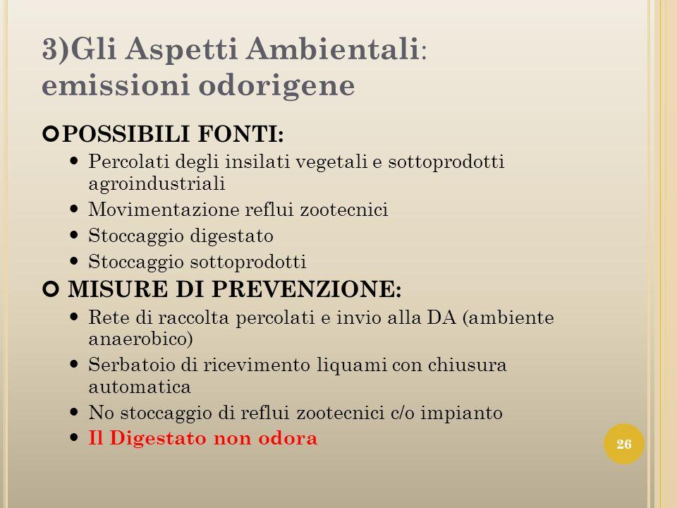 3)Gli Aspetti Ambientali : emissioni odorigene POSSIBILI FONTI: Percolati degli insilati vegetali e sottoprodotti agroindustriali Movimentazione reflu