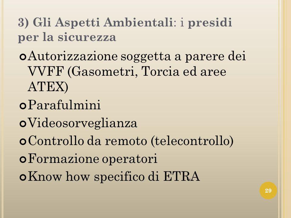 3) Gli Aspetti Ambientali : i presidi per la sicurezza Autorizzazione soggetta a parere dei VVFF (Gasometri, Torcia ed aree ATEX) Parafulmini Videosor