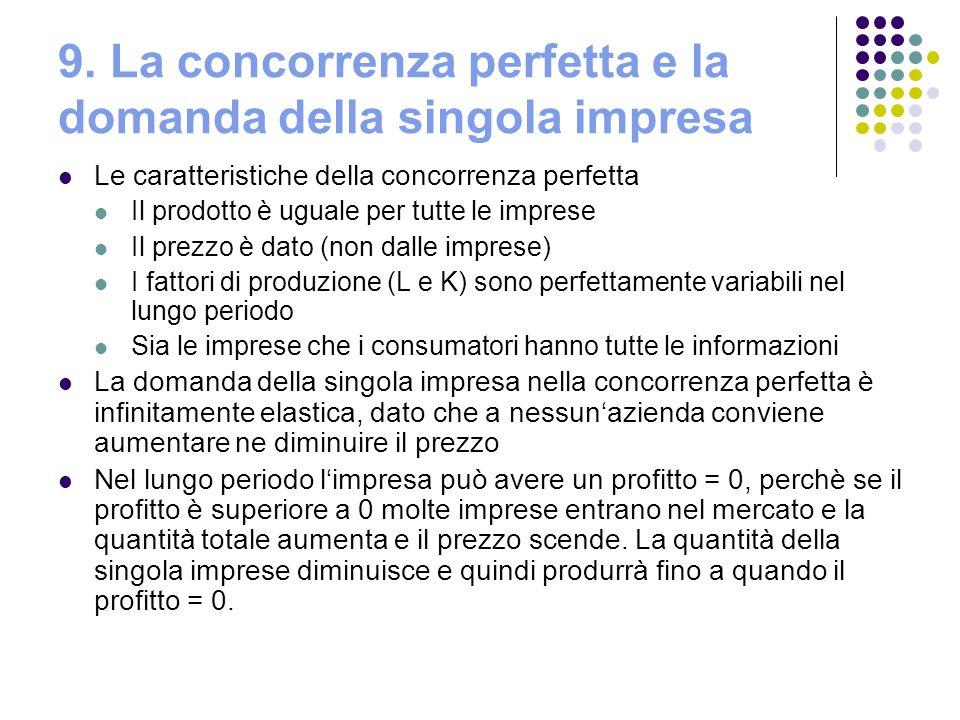 9. La concorrenza perfetta e la domanda della singola impresa Le caratteristiche della concorrenza perfetta Il prodotto è uguale per tutte le imprese