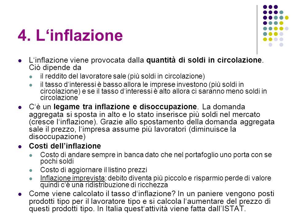 4. Linflazione Linflazione viene provocata dalla quantità di soldi in circolazione. Ciò dipende da il reddito del lavoratore sale (più soldi in circol