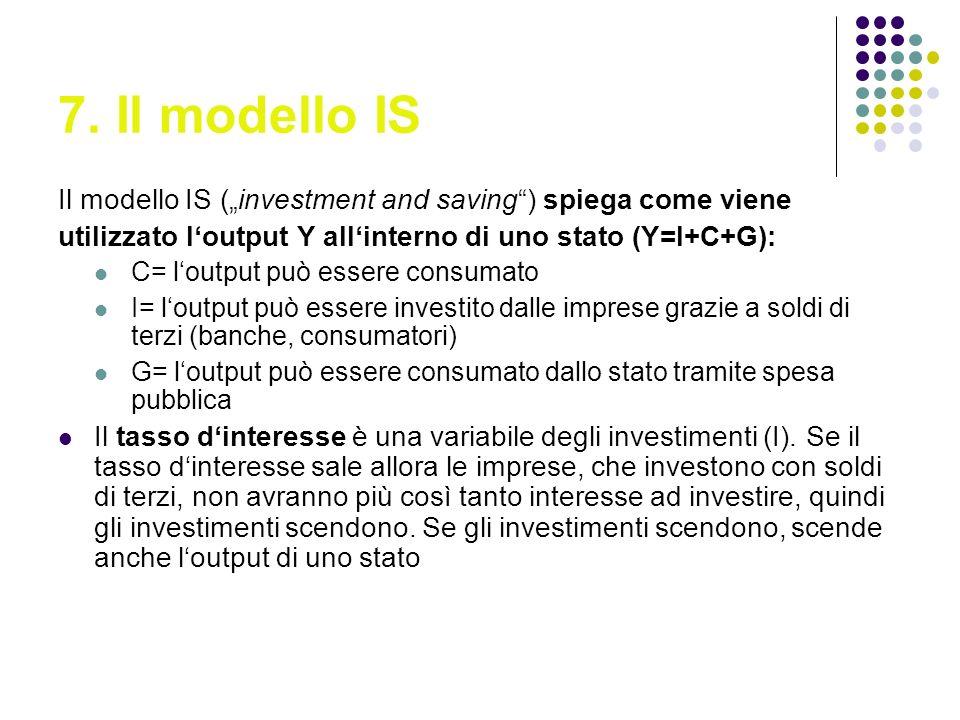7. Il modello IS Il modello IS (investment and saving) spiega come viene utilizzato loutput Y allinterno di uno stato (Y=I+C+G): C= loutput può essere