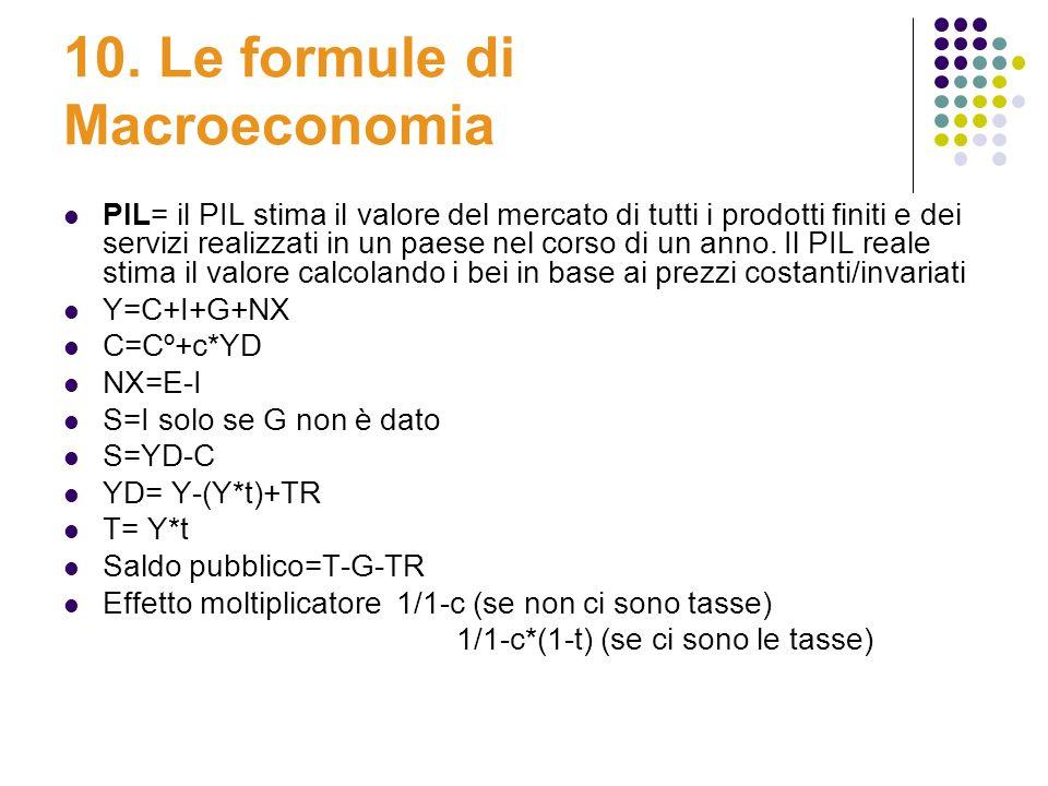 10. Le formule di Macroeconomia PIL= il PIL stima il valore del mercato di tutti i prodotti finiti e dei servizi realizzati in un paese nel corso di u