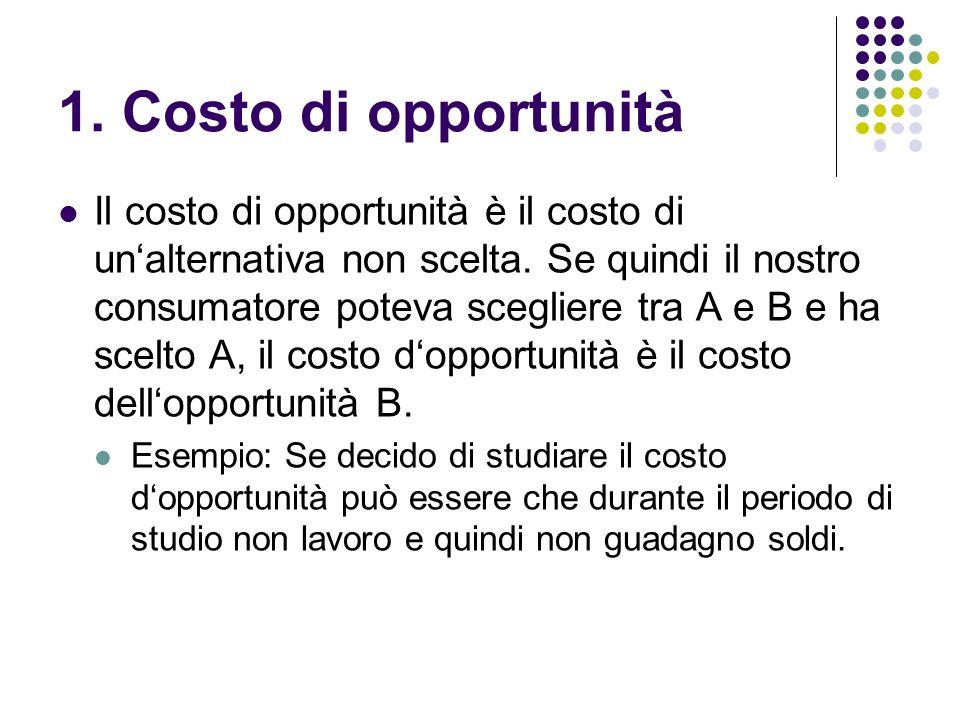 1. Costo di opportunità Il costo di opportunità è il costo di unalternativa non scelta. Se quindi il nostro consumatore poteva scegliere tra A e B e h