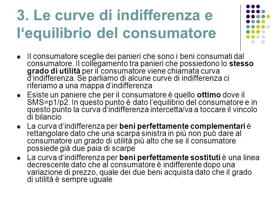 3. Le curve di indifferenza e lequilibrio del consumatore Il consumatore sceglie dei panieri che sono i beni consumati dal consumatore. Il collegament