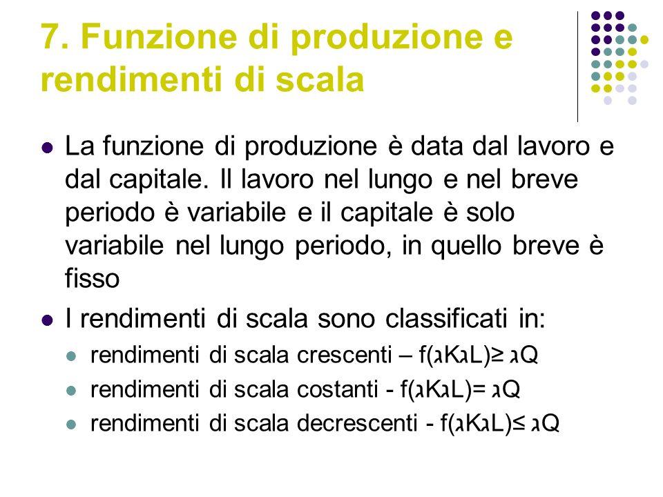 7. Funzione di produzione e rendimenti di scala La funzione di produzione è data dal lavoro e dal capitale. Il lavoro nel lungo e nel breve periodo è