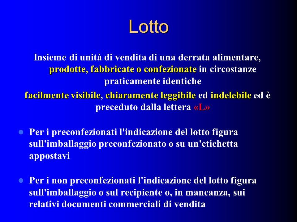 Lotto prodotte, fabbricate o confezionate Insieme di unità di vendita di una derrata alimentare, prodotte, fabbricate o confezionate in circostanze pr