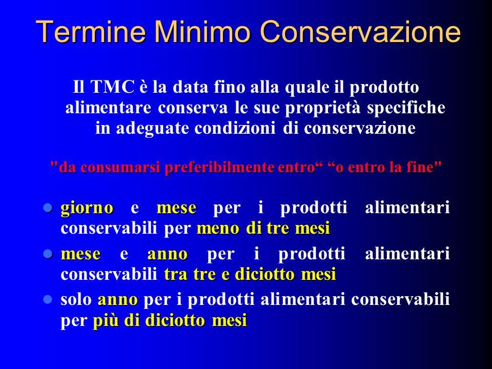 Termine Minimo Conservazione Il TMC è la data fino alla quale il prodotto alimentare conserva le sue proprietà specifiche in adeguate condizioni di co