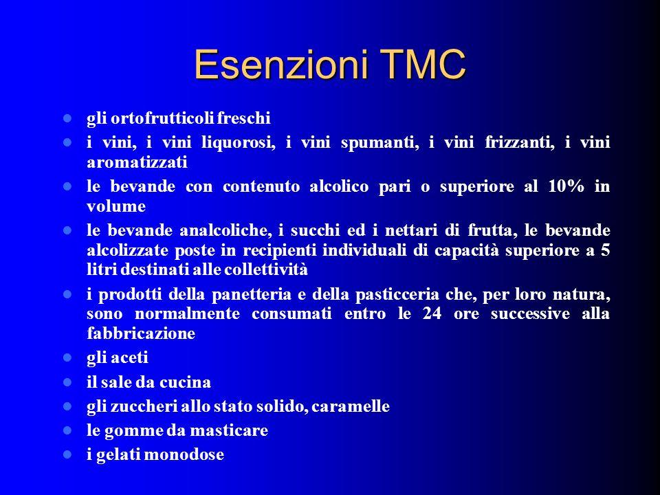 Esenzioni TMC gli ortofrutticoli freschi i vini, i vini liquorosi, i vini spumanti, i vini frizzanti, i vini aromatizzati le bevande con contenuto alc