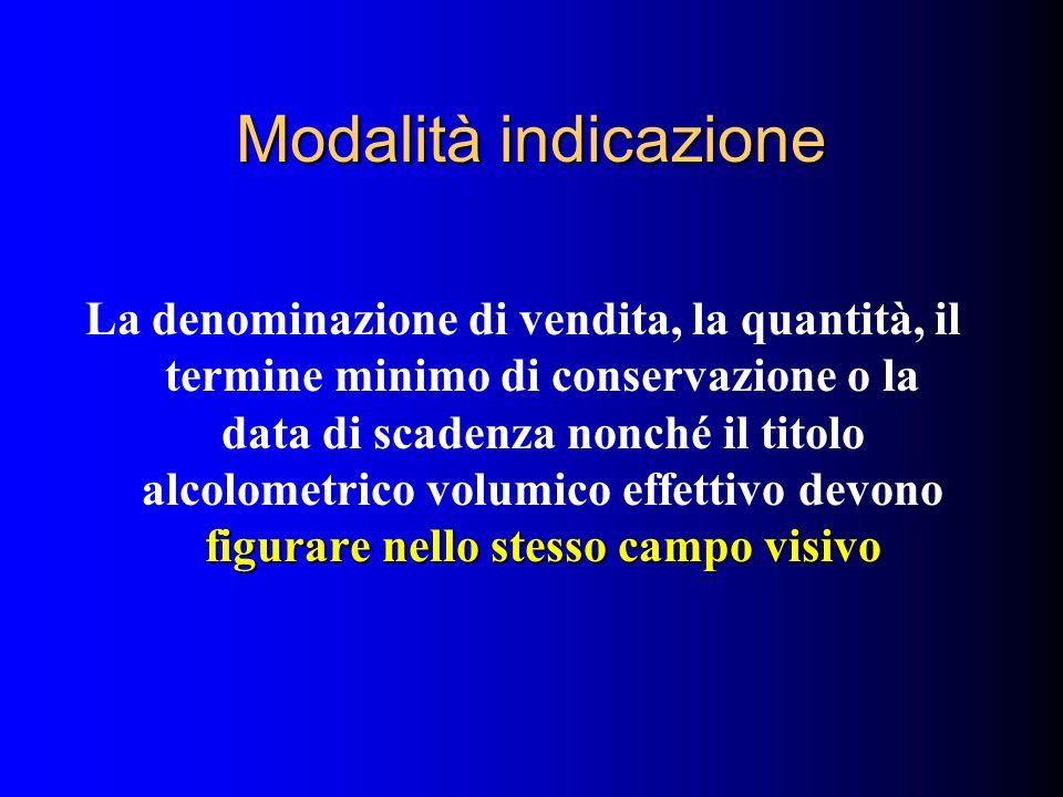 Modalità indicazione figurare nello stesso campo visivo La denominazione di vendita, la quantità, il termine minimo di conservazione o la data di scad