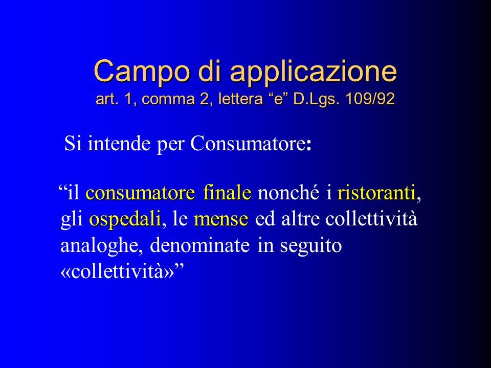 Campo di applicazione art. 1, comma 2, lettera e D.Lgs. 109/92 Si intende per Consumatore: consumatore finaleristoranti ospedalimense il consumatore f