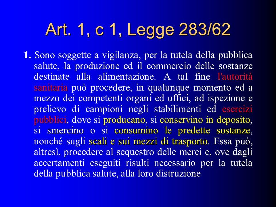 Art. 1, c 1, Legge 283/62 l'autorità sanitaria esercizi pubbliciproducanoconservino in deposito smercinoconsumino le predette sostanze scali e sui mez