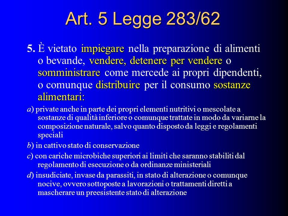 Art. 5 Legge 283/62 impiegare vendere, detenere per vendere somministrare distribuiresostanze alimentari: 5. È vietato impiegare nella preparazione di