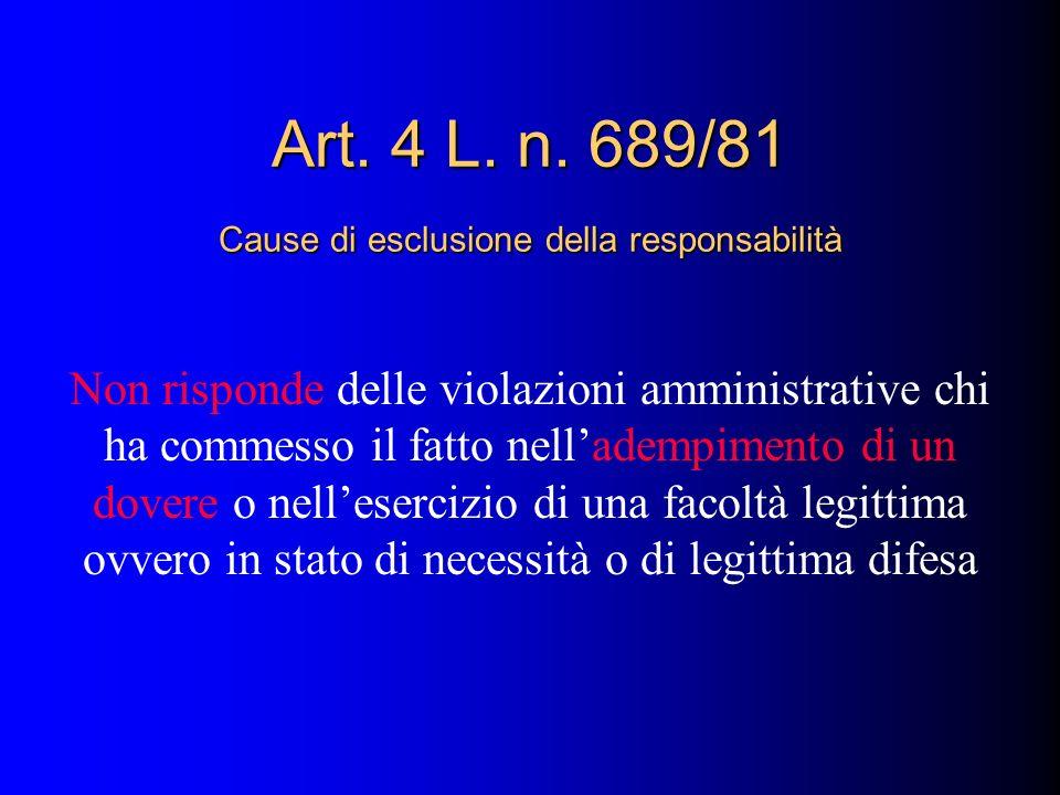 Non risponde delle violazioni amministrative chi ha commesso il fatto nelladempimento di un dovere o nellesercizio di una facoltà legittima ovvero in