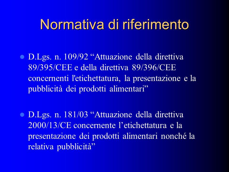 Normativa di riferimento D.Lgs. n. 109/92 Attuazione della direttiva 89/395/CEE e della direttiva 89/396/CEE concernenti l'etichettatura, la presentaz