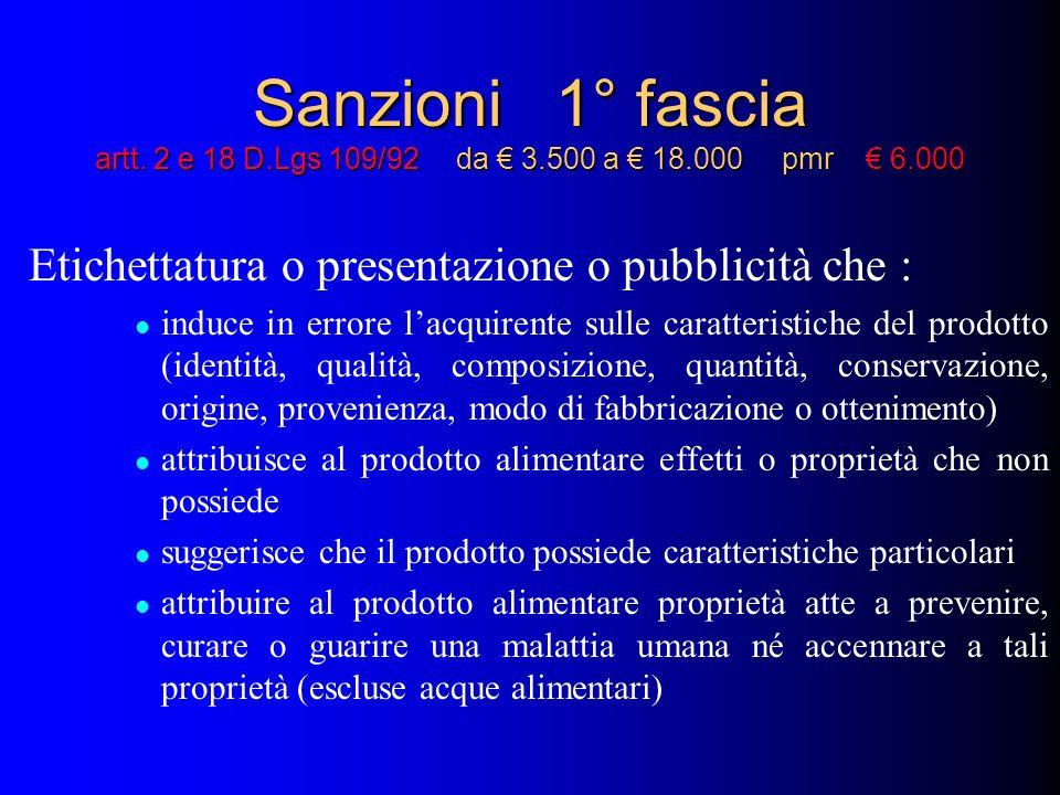Sanzioni 1° fascia artt. 2 e 18 D.Lgs 109/92 da 3.500 a 18.000 pmr 6.000 Etichettatura o presentazione o pubblicità che : induce in errore lacquirente