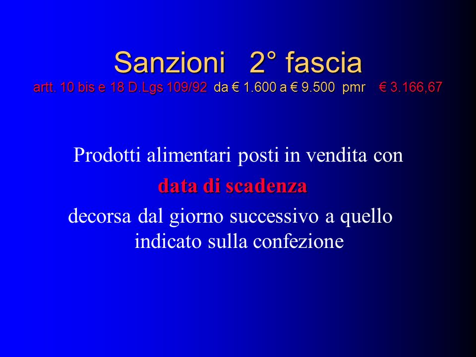 Sanzioni 2° fascia artt. 10 bis e 18 D.Lgs 109/92 da 1.600 a 9.500 pmr 3.166,67 Prodotti alimentari posti in vendita con data di scadenza decorsa dal