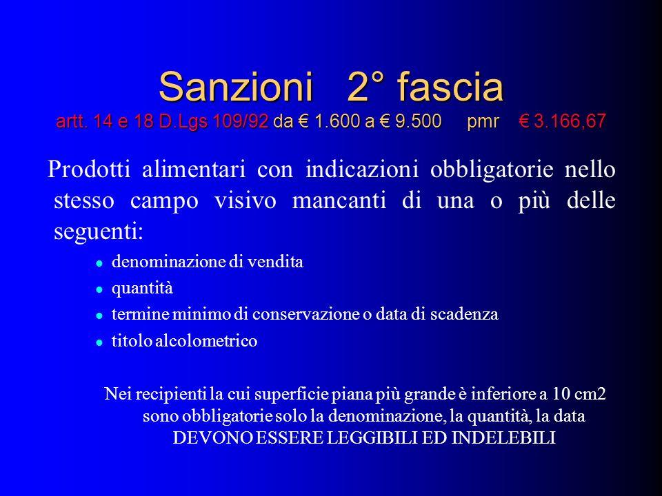 Sanzioni 2° fascia artt. 14 e 18 D.Lgs 109/92 da 1.600 a 9.500 pmr 3.166,67 Prodotti alimentari con indicazioni obbligatorie nello stesso campo visivo