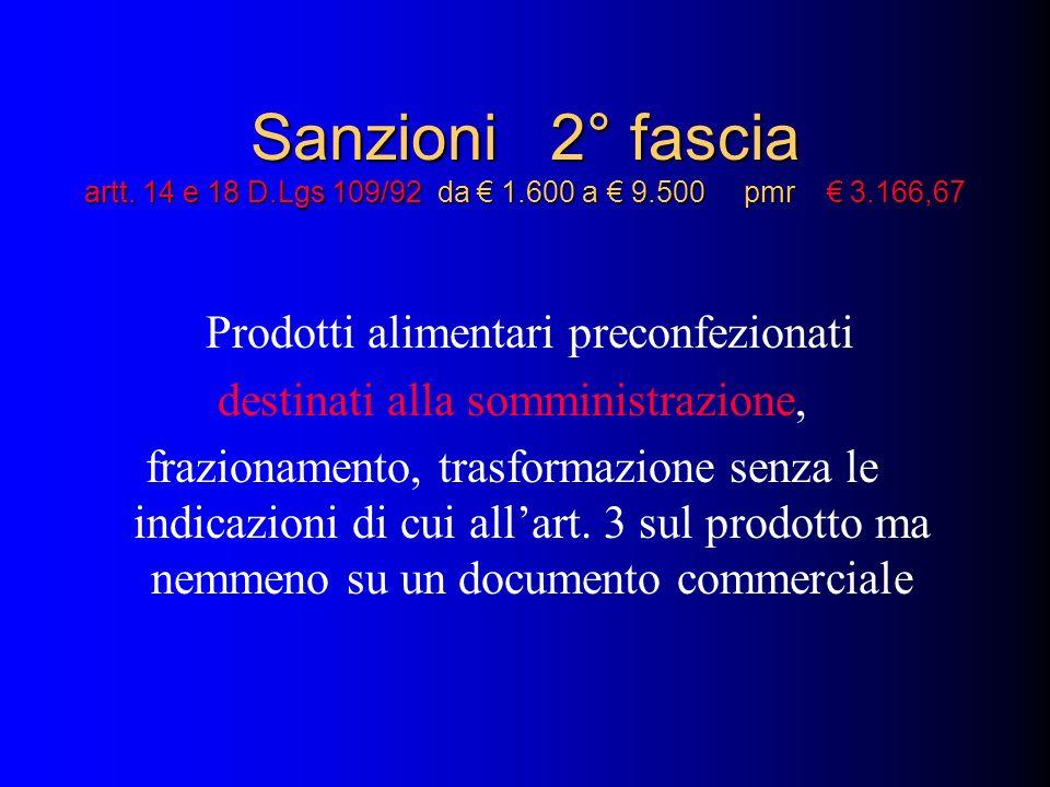 Sanzioni 2° fascia artt. 14 e 18 D.Lgs 109/92 da 1.600 a 9.500 pmr 3.166,67 Prodotti alimentari preconfezionati destinati alla somministrazione, frazi