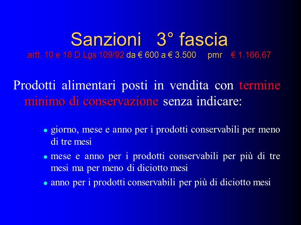 Sanzioni 3° fascia artt. 10 e 18 D.Lgs 109/92 da 600 a 3.500 pmr 1.166,67 termine minimo di conservazione Prodotti alimentari posti in vendita con ter