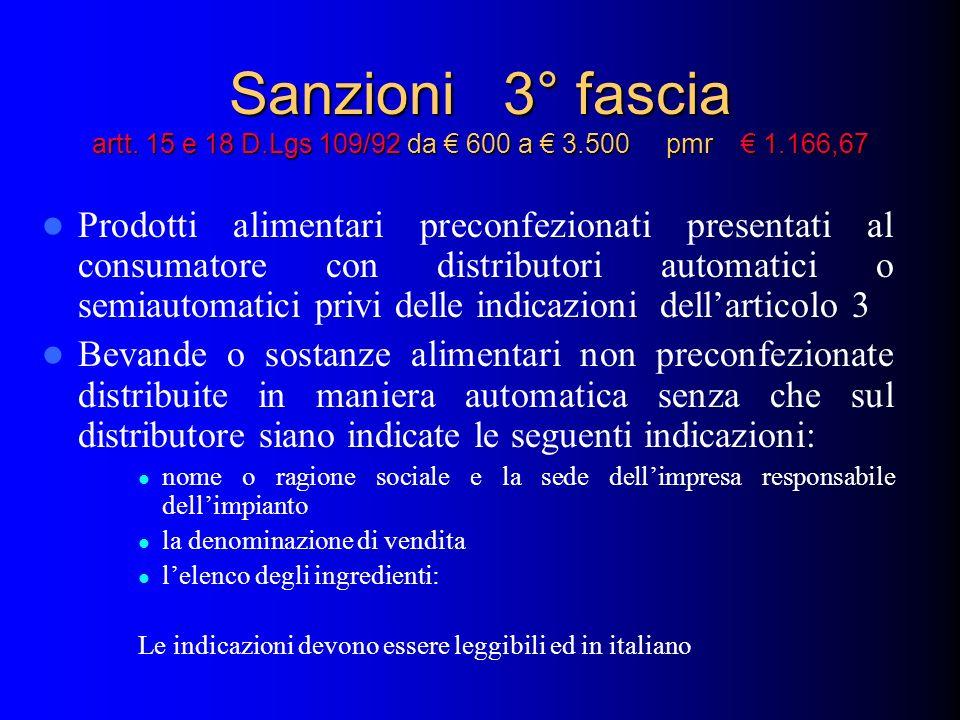 Sanzioni 3° fascia artt. 15 e 18 D.Lgs 109/92 da 600 a 3.500 pmr 1.166,67 Prodotti alimentari preconfezionati presentati al consumatore con distributo