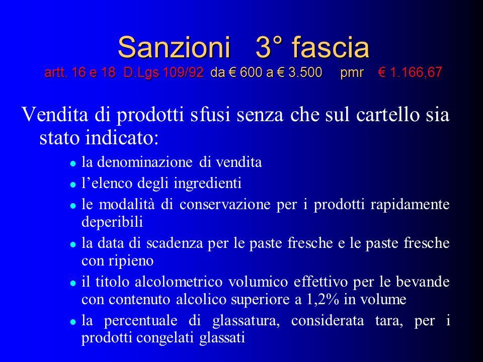 Sanzioni 3° fascia artt. 16 e 18 D.Lgs 109/92 da 600 a 3.500 pmr 1.166,67 Vendita di prodotti sfusi senza che sul cartello sia stato indicato: la deno
