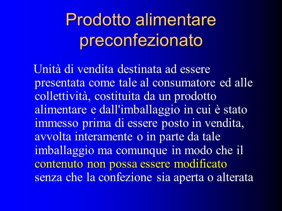 Prodotto alimentare preconfezionato contenuto non possa essere modificato Unità di vendita destinata ad essere presentata come tale al consumatore ed