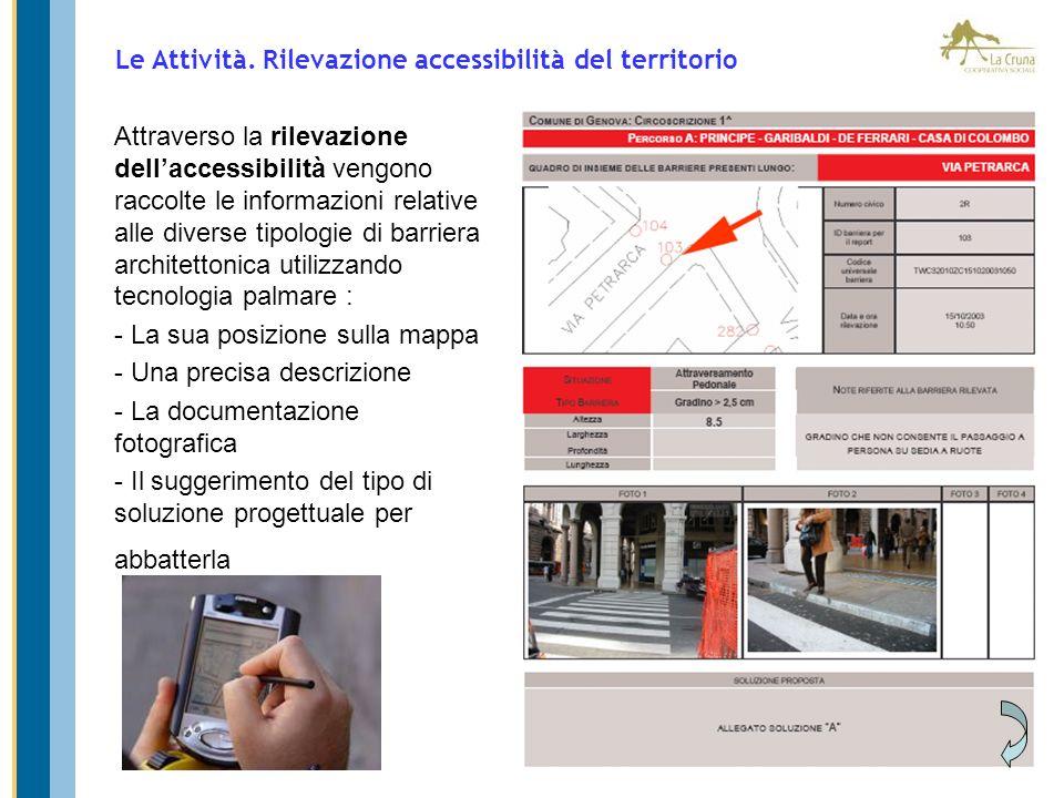 Attraverso la rilevazione dellaccessibilità vengono raccolte le informazioni relative alle diverse tipologie di barriera architettonica utilizzando te