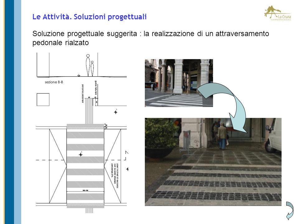 Soluzione progettuale suggerita : la realizzazione di un attraversamento pedonale rialzato Le Attività. Soluzioni progettuali