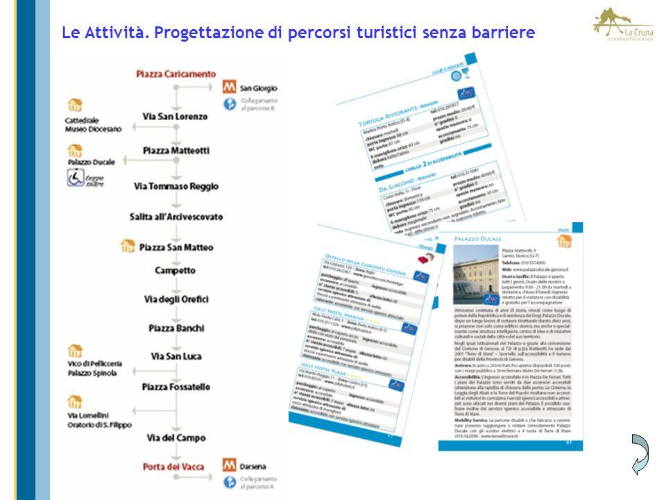 Le Attività. Progettazione di percorsi turistici senza barriere