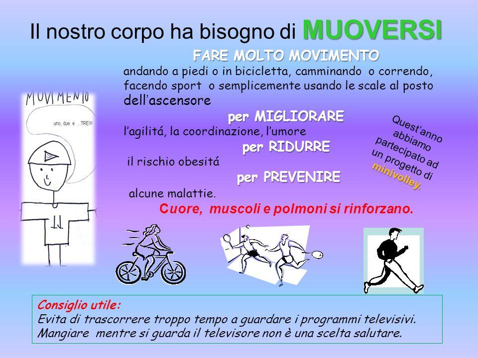 MUOVERSI Il nostro corpo ha bisogno di MUOVERSI FARE MOLTO MOVIMENTO andando a piedi o in bicicletta, camminando o correndo, facendo sport o semplicem