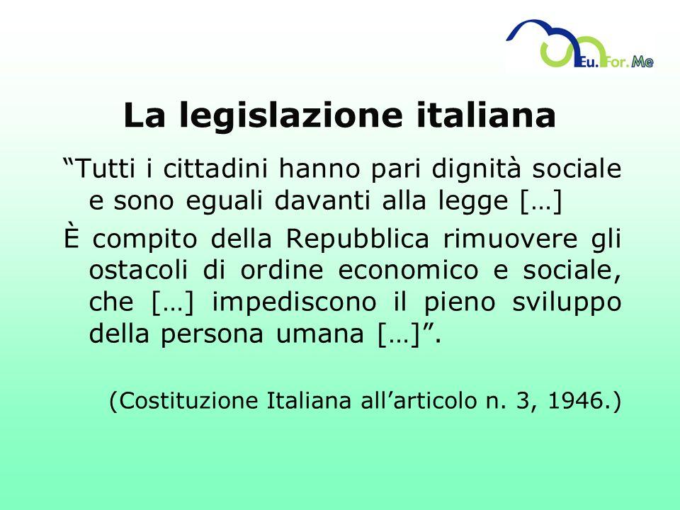 La legislazione italiana Tutti i cittadini hanno pari dignità sociale e sono eguali davanti alla legge […] È compito della Repubblica rimuovere gli os