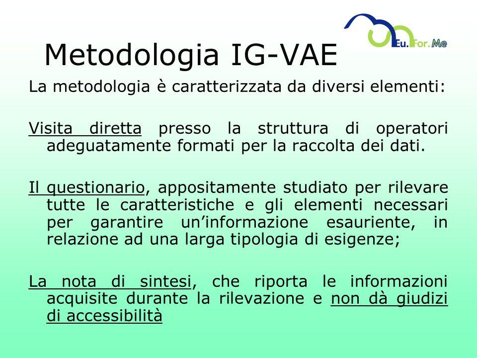 Metodologia IG-VAE La metodologia è caratterizzata da diversi elementi: Visita diretta presso la struttura di operatori adeguatamente formati per la r