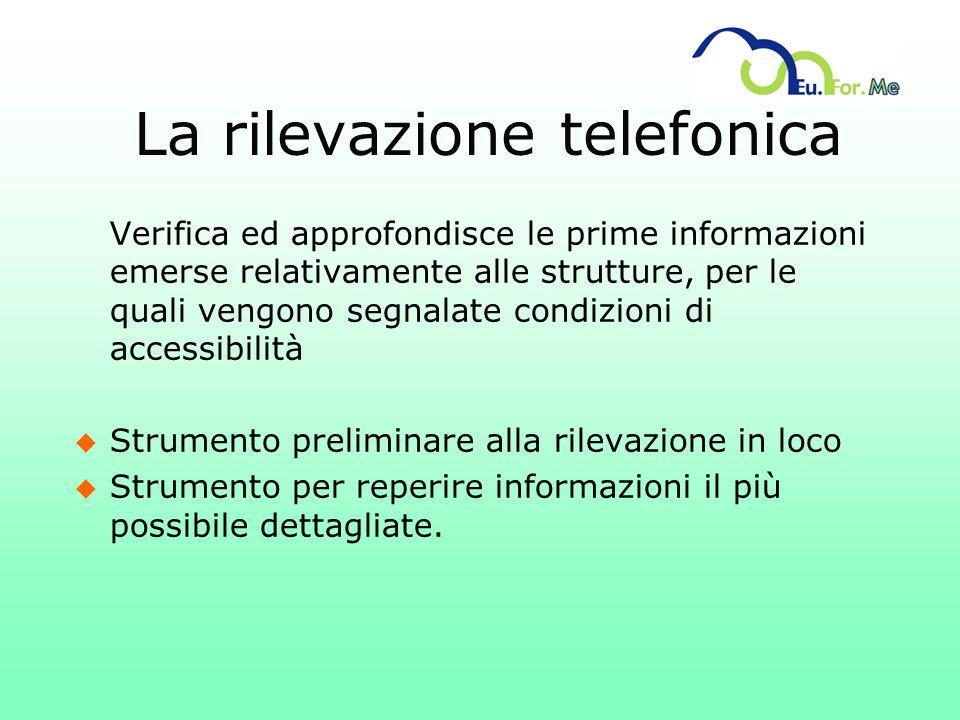 La rilevazione telefonica Verifica ed approfondisce le prime informazioni emerse relativamente alle strutture, per le quali vengono segnalate condizio