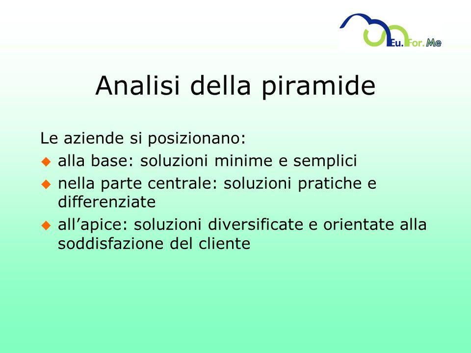 Analisi della piramide Le aziende si posizionano: u alla base: soluzioni minime e semplici u nella parte centrale: soluzioni pratiche e differenziate