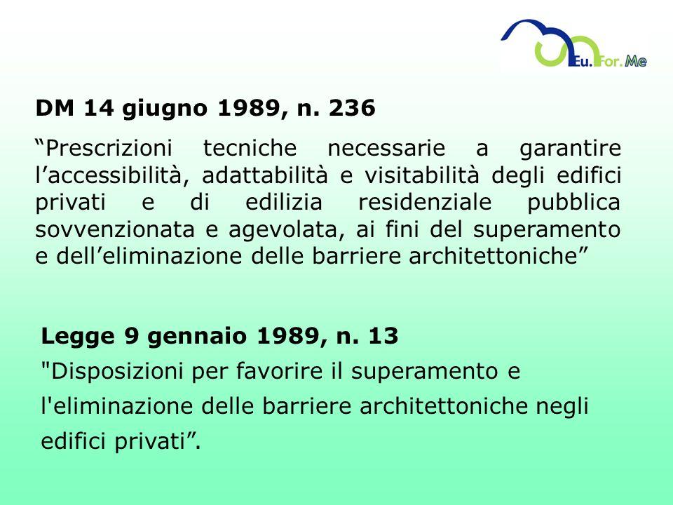 DM 14 giugno 1989, n. 236 Prescrizioni tecniche necessarie a garantire laccessibilità, adattabilità e visitabilità degli edifici privati e di edilizia