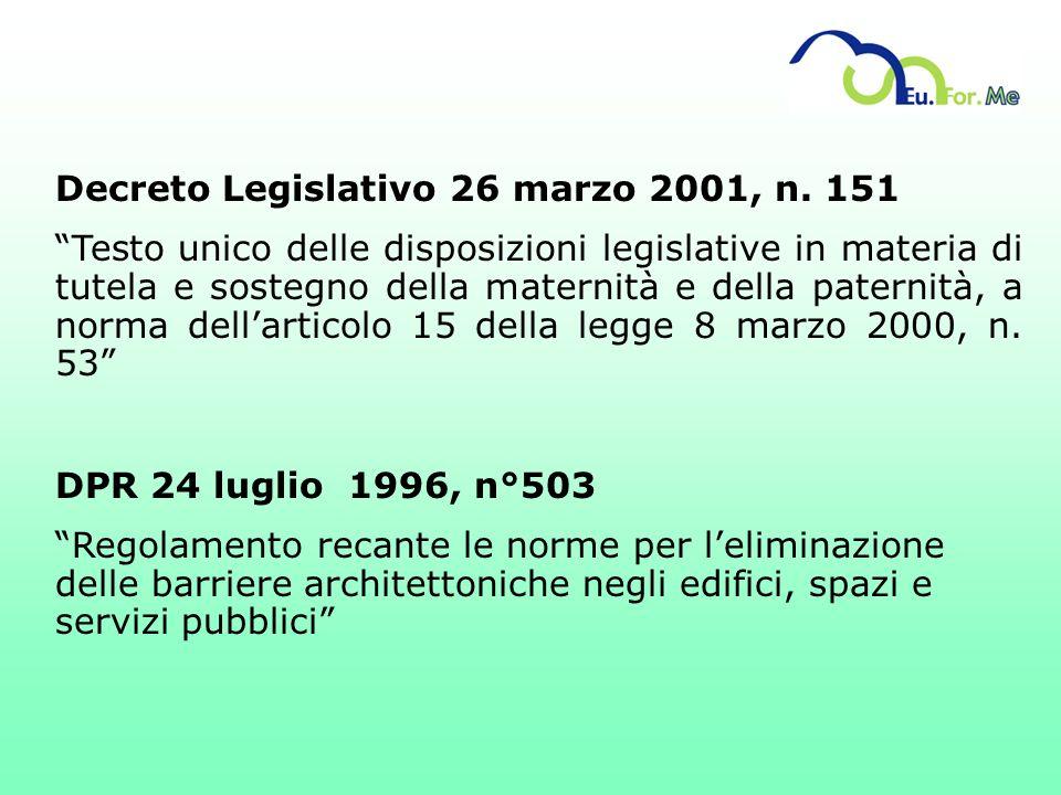 Decreto Legislativo 26 marzo 2001, n. 151 Testo unico delle disposizioni legislative in materia di tutela e sostegno della maternità e della paternità