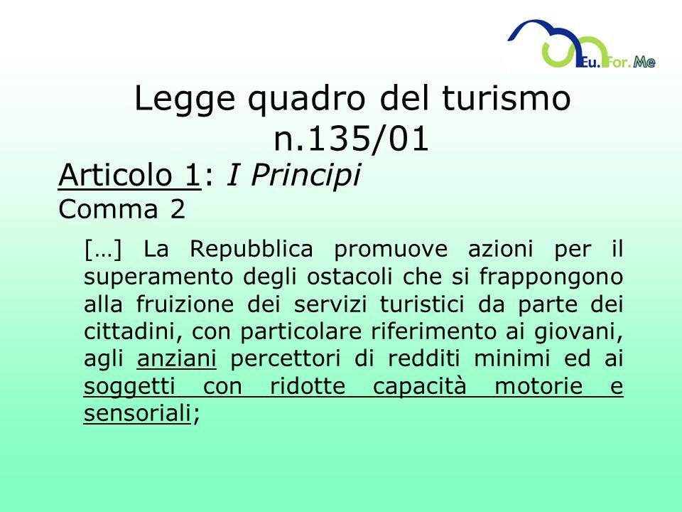 Legge quadro del turismo n.135/01 Articolo 1: I Principi Comma 2 […] La Repubblica promuove azioni per il superamento degli ostacoli che si frappongon