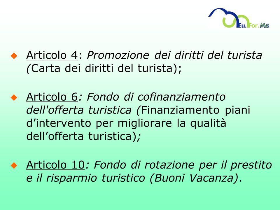u Articolo 4: Promozione dei diritti del turista (Carta dei diritti del turista); u Articolo 6: Fondo di cofinanziamento dell'offerta turistica (Finan