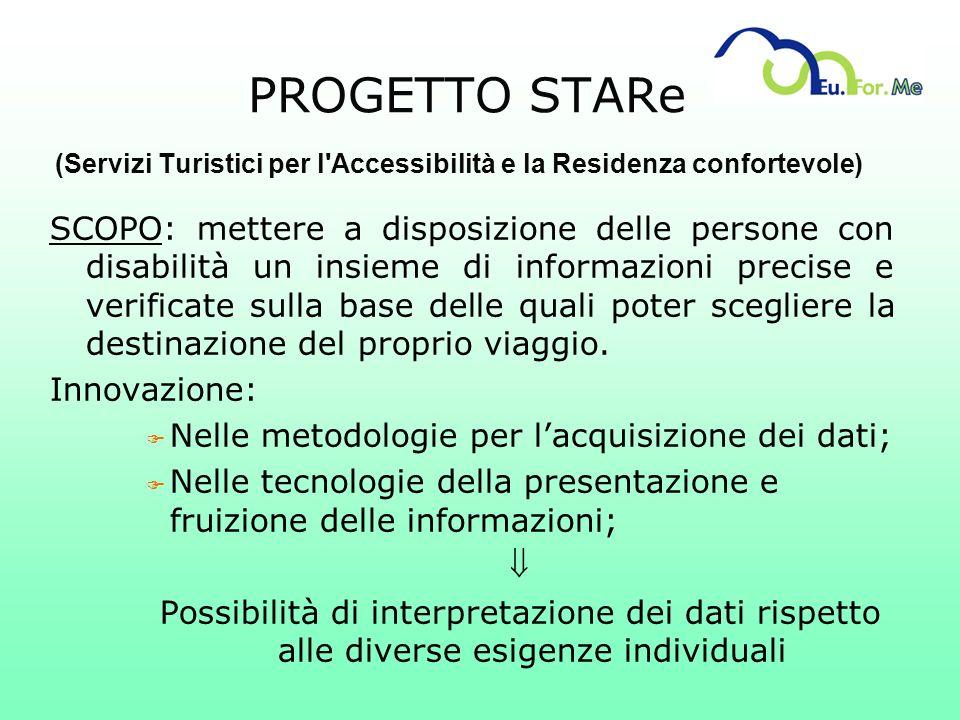 PROGETTO STARe (Servizi Turistici per l'Accessibilità e la Residenza confortevole) SCOPO: mettere a disposizione delle persone con disabilità un insie