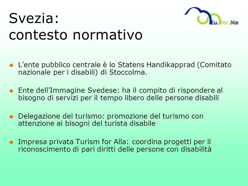 Svezia: contesto normativo u Lente pubblico centrale è lo Statens Handikapprad (Comitato nazionale per i disabili) di Stoccolma. u Ente dellImmagine S