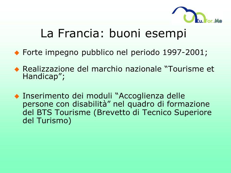 La Francia: buoni esempi u Forte impegno pubblico nel periodo 1997-2001; u Realizzazione del marchio nazionale Tourisme et Handicap; u Inserimento dei
