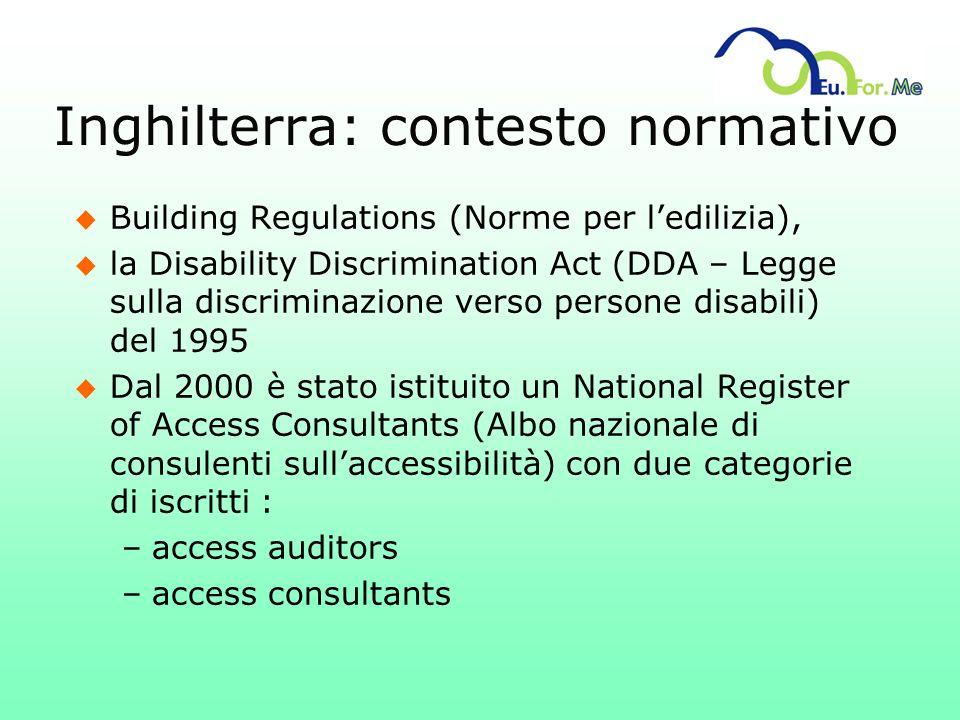 Inghilterra: contesto normativo u Building Regulations (Norme per ledilizia), u la Disability Discrimination Act (DDA – Legge sulla discriminazione ve