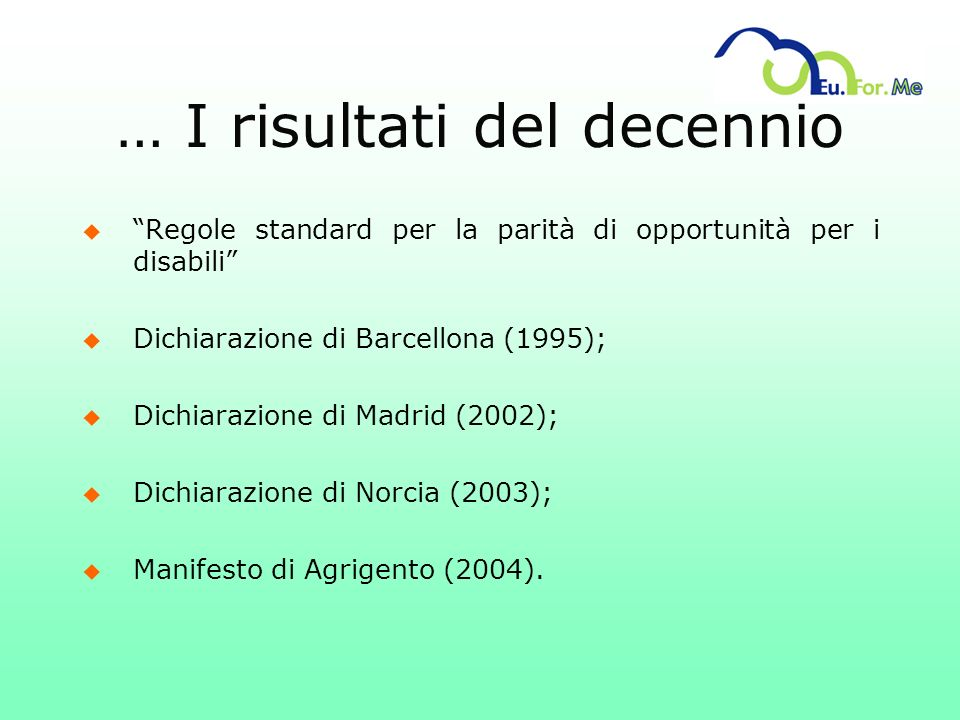 … I risultati del decennio u Regole standard per la parità di opportunità per i disabili u Dichiarazione di Barcellona (1995); u Dichiarazione di Madr