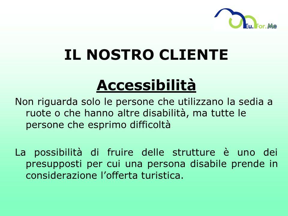 IL NOSTRO CLIENTE Accessibilità Non riguarda solo le persone che utilizzano la sedia a ruote o che hanno altre disabilità, ma tutte le persone che esp